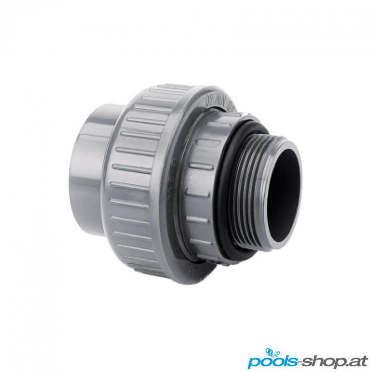 """PVC Verschraubung d50 x 1 1/2"""" AG mit O-Ring PN16"""